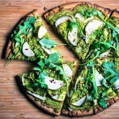 Weekend Cooking: Matcha Breakfast Pizza.   Ingredients:  • Teaologists Matcha green tea - 1 tsp.   • Egg - 1   • Pink salt - Pinch of   • Buckwheat flour - 4 tbsp.   • Coconut oil - 2 tsp.   • Baking powder - 1 tsp.