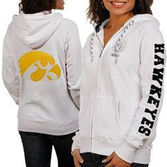 Iowa Hawkeyes Ladies White Glitz & Glamour Full Zip Hoodie Sweatshirt