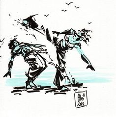 Encres : Capoeira-73 [ #capoeira #ink #painting ] by French Artist: Alexandre Guillaume