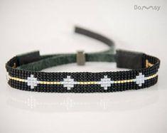 Elegantes Armband, Perlen Schmuck, Armband, Miyuki Perlen, Leder, schwarz, Gold, weiß, Geschenk
