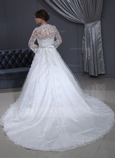 Ball-Gown Strapless Cathedral Train Satin Tulle Wedding Dress With Lace ~ Yes