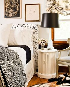 Super easy to create headboard to use with plain bed frame