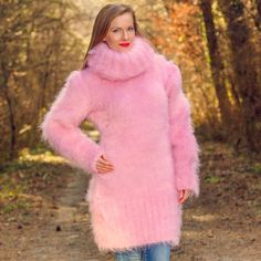 SUPERTANYA PINK Hand Knitted Sweater Fuzzy Extra Long Turtleneck Mohair Dress #SuperTanya #TurtleneckMock