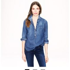 "J. Crew Classic Chambray Shirt NWT. Never worn. Shoulder to Shoulder Seam is 14.5"" Chest pit to pit 17.5"" Center back length 26"" J. Crew Tops"