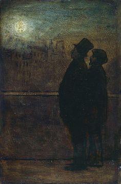 Honoré Daumier, Les Noctambules Honore Daumier paintings, plastic arts, visual arts, art, impressionism, orientalism, realism, romanticism