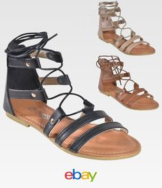 f1dda0183d8bb Women s Lace Up Ankle Tie Back Zip Open Toe Strappy Roman Gladiator Flat  Sandals
