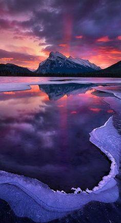 Rundle Sunrise   Vermillion Lake