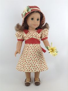 1930's American Girl 18-inch Doll Clothes - Floral Dress in Pale Yellow and Rust & Cloche