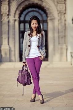 colored jeans, white shirt, gray blazer
