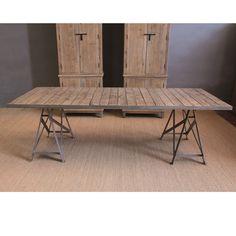 EM-737-A-5 Mesa de madera envejecida y metal (250x100x78) Furniture, Home Decor, Aged Wood, Industrial Table, Wood Tables, Interiors, Atelier, Decoration Home, Room Decor