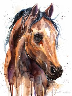 Thoroughbred Horse watercolor painting print by Slaveika Aladjova, animal art, illustration,wall art - Tattoo MAG Watercolor Horse, Watercolor Animals, Watercolor Paintings, Pastel Paintings, Watercolor Paper, Watercolors, Watercolor Tattoo, Horse Drawings, Art Drawings