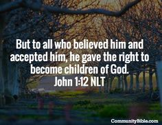 """""""But to all who believed him and accepted him, he gave the right to become children of God."""" John 1:12"""