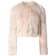 Redvalentino Faux Fur Jacket ($895) ❤ liked on Polyvore featuring outerwear, jackets, light pink, fake fur jacket, faux fur jacket, red valentino, long sleeve crop jacket and lined jacket