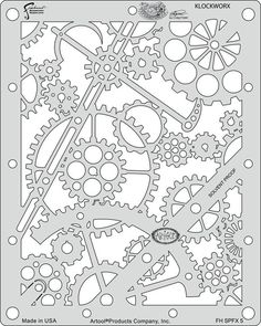Craig Frasers Steampunk FX Airbrush Stencils Paint Template Set of 6 Artool in Crafts, Art Supplies, Airbrushing Stencil Templates, Stencil Patterns, Stencil Painting, Stencil Designs, Embroidery Patterns, Hand Embroidery, Printable Stencils, Free Printable, Kirigami