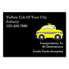 Large Taxi Business Cards. This is a fully customizable business card and available on several paper types for your needs. You can upload your own image or use the image as is. Just click this template to get started!