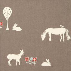 grey birch organic fabric with horse, fox, rabbit, bambi  fabric
