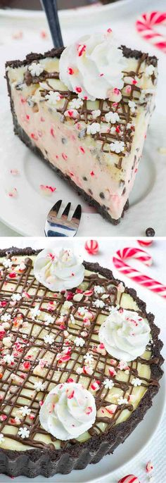 Candy Cane Pie - candy, cane, chips, cookies, dessert, oreo, pie, recipes, white chocolate