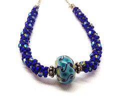 Statement Necklace Cobalt Blue Beaded Kumihimo by GirlBurkeStudios, $40.00