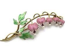 Bleeding Heart Brooch - 14k Gold Pearl Enamel Brooch Early Krementz Jewelry Art Nouveau Fine Estate Jewelry