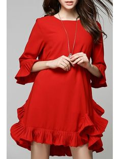 Flouncing Red Dress - RED M Mobile