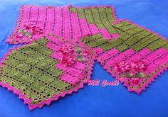 MB Crochê: Jogo de tapetes para banheiro dual color