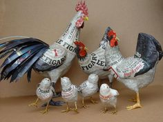 Nicole Jacobs & Aude Goalec: A zoo of paper mache invades the world Ecolochic...Trio (one cock, two hens) & chicks in papier mache.