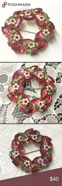Vintage Pink Rhinestone Flower Wreath Brooch Sweet vintage gold tone pink open back navettes and closed back pink round rhinestones wreath brooch.  Metal green and white enamel flowers are wired onto top of pink rhinestones.  Unusual and very feminine! Vintage Jewelry Brooches