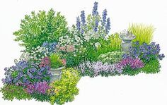 Design tips for an ever-flowering bed - Ever-flowering bed with planting plan. Beet summer Ever-flowering bed with planting plan. Garden Cottage, Garden Beds, Garden Plants, Garden Types, Garden Sprinklers, Planting Plan, Garden Care, Plantation, Blooming Flowers