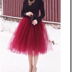 GORGEOUS WINE TULLE SKIRT! ❤️ Tulle Skirt is Lined & has 5 Layers Skirts