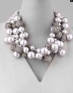 KENNETH JAY LANE Multi strand pearl cluster necklace silver pave bubble balls…