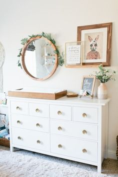 Nursery Wall Decor Above the Changing Table is part of Girl nursery - Decorating a nursery can be difficult, but it doesn't have to be! Here's a roundup of 10 adorable ideas for nursery wall decor above the changing table! Boho Nursery, Nursery Wall Decor, Baby Room Decor, Newborn Nursery, Nursery Mirror, Ikea Baby Nursery, Bedroom Decor, Nursery Shelving, White Dresser Nursery