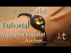 Tutorial how to make a macrame knot bracelet waxed cord with amber - YouTube
