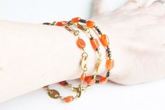 Orange and Bronze Gemstones and Brass Bracelets with Carnelian