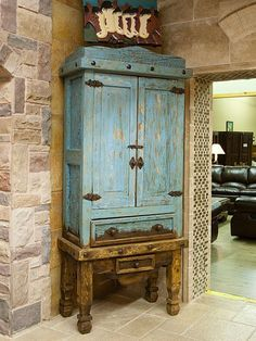 A beautiful turquoise armoire from a great store in Tyler Texas...our new home away from home! :) #westernfurniture