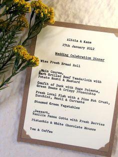 Wedding Menu Card - True Typewriter Font, Kraft & Ivory - Rustic Woodland, Vintage-Inspired, Natural. $4.25, via Etsy.