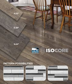 You can install Allure ISOCORE Multi-Width Vinyl Plank Flooring in a variety of different patterns! All 3 plank widths are included in each case. Allure ISOCORE weighs about 30% less than traditional Luxury Vinyl Tile, making it easier than ever to handle and install! Allure ISOCORE is exclusively available at The Home Depot.