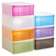 Large Tint Stacking Drawer $17.99 each For the girls' larger toys in the playroom- one of each in pink, orange, green, blue and purple