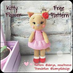 Kitty Flower Free Pattern – Amigurumi Free Patterns And Tutorials Crochet Cat Pattern, Crochet Amigurumi Free Patterns, Crochet Animal Patterns, Stuffed Animal Patterns, Free Crochet, Crochet Hats, Kawaii Crochet, Kittens Cutest, Kitty