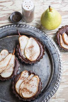 A dessert you must try this holiday season:  Chocolate Pear Tarts • theVintageMixer.com