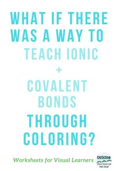 What if you wanted to teach your students ionic and covalent bonds through coloring? Use these worksheets as homework or activities to learn the rules of bonding chemistry. Use for middle school, high school, or homeschool. High School Chemistry, Teaching Chemistry, Science Chemistry, Physical Science, Back To School Highschool, Middle School, Ionic And Covalent Bonds, Benefits Of Homeschooling, Chemical Bond