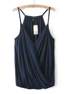 Choies Navy Spaghetti Strap V-neck Ruffle Wrap Cami Mode Top, Mein Style, V Neck Tank Top, Look Chic, Cami Tops, Women's Tops, Fashion Outfits, Womens Fashion, Fashion Brand