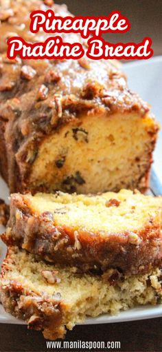 Crushed pineapple makes this Pineapple Praline bread super moist and flavorful. No butter or oil is ever used in the batter. The crunchy pecan topping makes it even more scrumptious. Easy Gluten Free Desserts, Easy Desserts, Easy Dinner Recipes, Delicious Desserts, Dessert Recipes, Breakfast Recipes, Pineapple Bread, Crushed Pineapple, Pineapple Upside