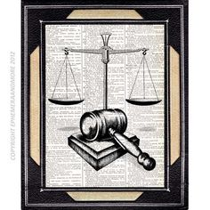 SCALE of JUSTICE and GAVEL art print on dictionary book page art print dictionary print  vintage law barrister office decor lawyer. $9.00, via Etsy.