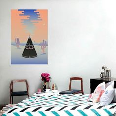 """""""Tipi"""" print available on the @fab website! I am selling a whole serie there, check it out here :  http://fab.com/designer/will-wild/?ref=sb-sq-will%20wild-b1&page=1  #willwild #fab #promo #artist #graphic #graphicartist #designlife #home #homeinterior #interior #deco #decoration #print #art #bedroom #tipi #clouds #cactus"""