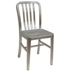 "This attractive and durable aluminum chair features a slat style back and a sturdy welded aluminum frame, and will bring a distinctive look to your trendy cafe, restaurant or enclosed patio.<br><br><b><u>Dimensions:</b></u><br>15 1/2""W x 14""D x 33""H"