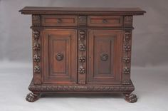 """7913. Mediterranean Carved Sideboard Just arrived...1920's Italian credenza, beautifully carved walnut with plenty of storage.  59"""" long, 45"""" tall, and 18 1/2"""" deep."""