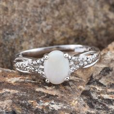 Australian White Opal, Diamond Accent Platinum Over Sterling Silver Ring (Size 9) TDiaWt 0.01 cts, TGW 0.760 cts. | fashion | rings | jewelry | online-store | Liquidation Channel