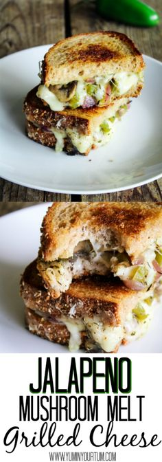 Jalapeno Mushroom Melt Grilled Cheese- A flavorful vegetarian sandwich that you wont want to put down. Perfectly seasoned ingredients between Swiss cheese & rye bread. A big YUM for your TUM!