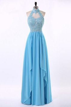 Sky Blue Chiffon High Neck Backless Long Sheath Lace Prom Dresses