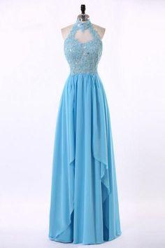 Halter Neckline Prom Dress,Keyhole Back Lace Prom Gown,Blue Lace Graduation…